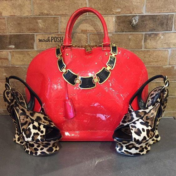 Shop all handbags, shoes & accessories on www.mymoshposh.com! #newarrivals #louisvuitton #lvalmagm #vernisleather #dolceandgabbana #leopard #leopardlove #popofred #inlove #fashion #trendy #luxury #purseblog #purselover #shoelover #mymoshposh #moshposhfinds #designerconsignment