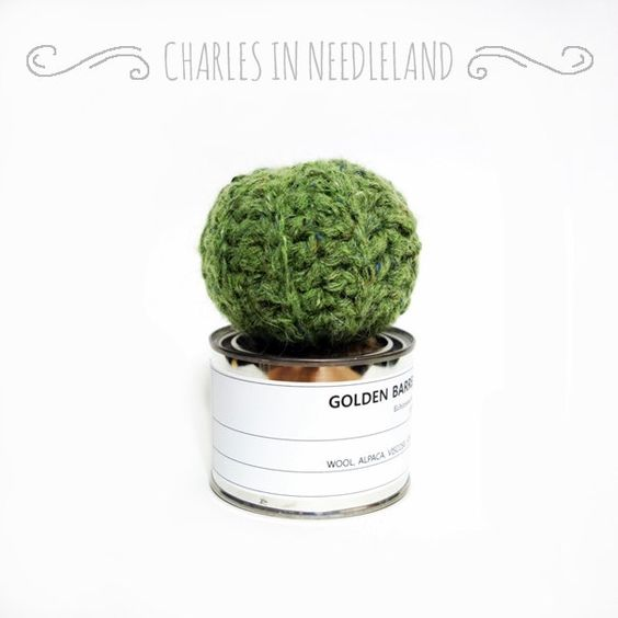 GOLDEN BARREL - Handmade cactus by CharlesinNeedleland on Etsy