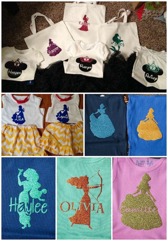 Personalized Disney Princess Inspired Silhouette Iron On