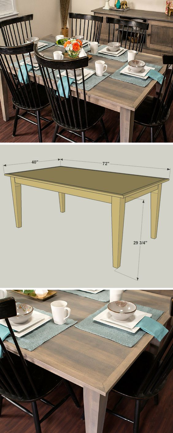 diy farmhouse dining table free printable plans on it s easier than you. Black Bedroom Furniture Sets. Home Design Ideas