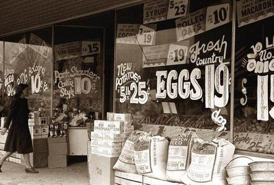 Eggs - 19 cents  New Potatoes 5lb. 25 cents  Wow ! Those were the good old days...: