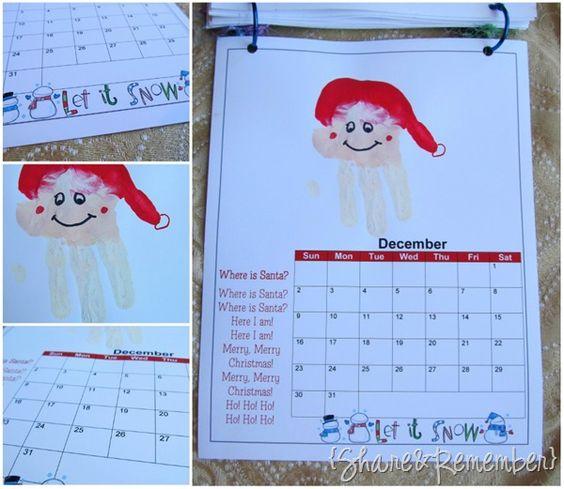 Kindergarten Calendar For Parents : Handprint calendar xmas and preschool