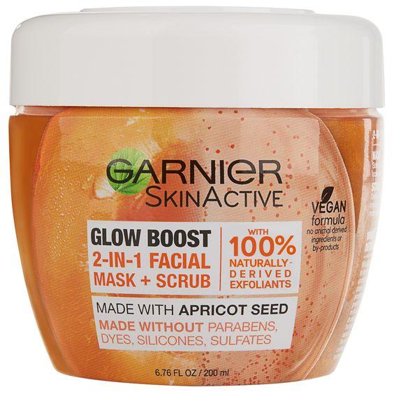 Garnier SkinActive Glow Boost 2 in 1 Facial Mask and Scrub - 6.76 fl oz