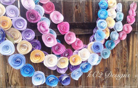 Paper Flower Garland spring garland. Wedding Garland. Paper flower garland…