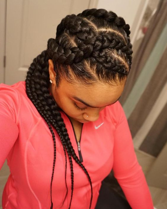 Criss-Cross Goddess Braids, black braided hairstyles 2021