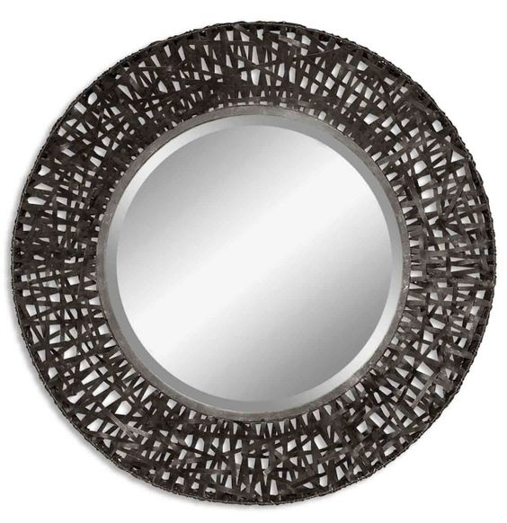 Metal Straps Round Mirror - Black