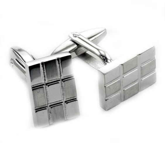James Cavolini Stainless Steel Rectangle Cuff Links