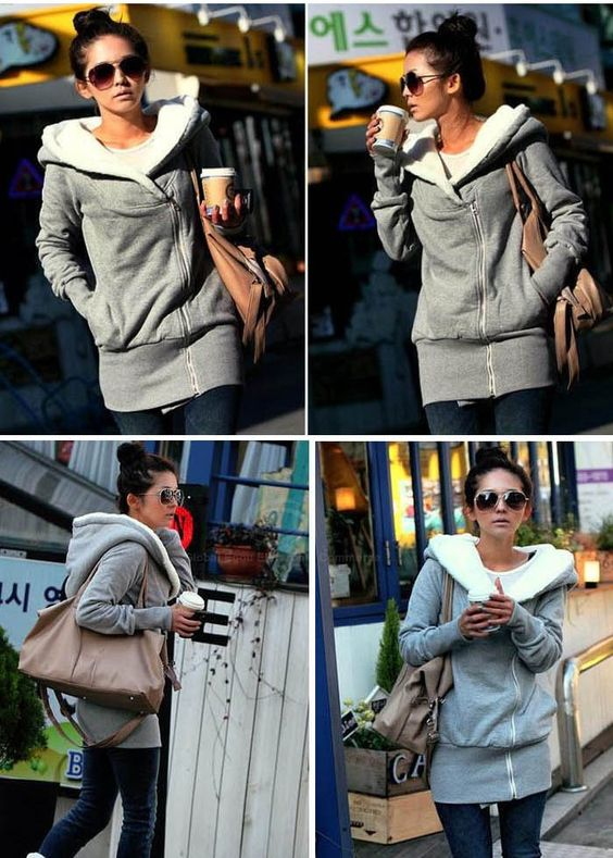 Korea Women Hoodie Jacket Coat Warm Outerwear hooded Zip | Hoodies