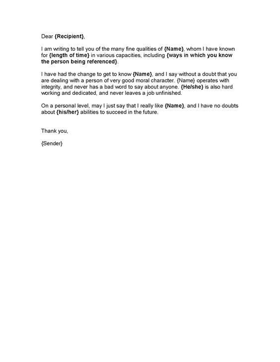 Letter of Good Character Template Character Reference - Hashdoc - sample character reference letter template