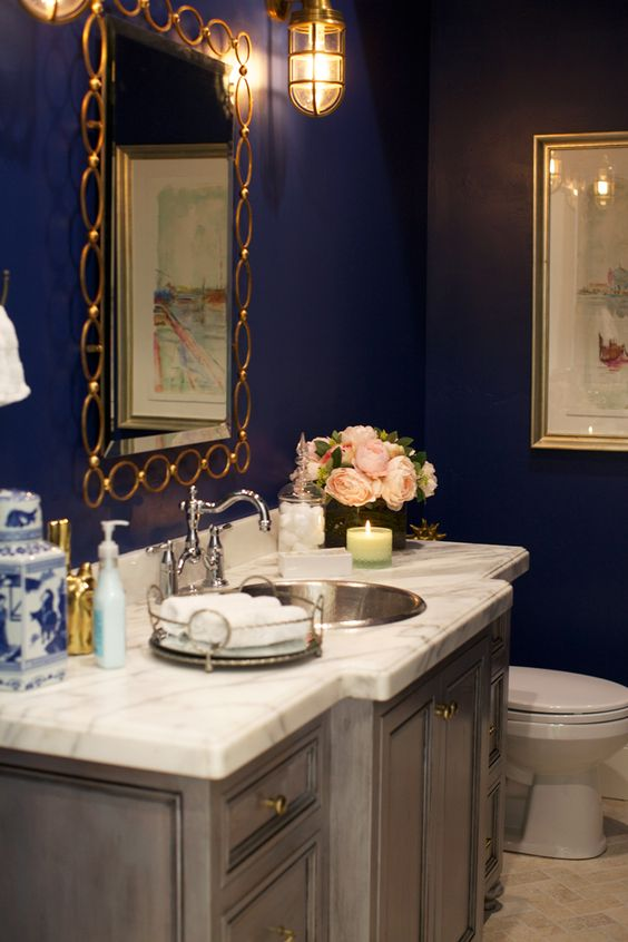 Navy Blue And Gold Powder Bath Acehardware Diy