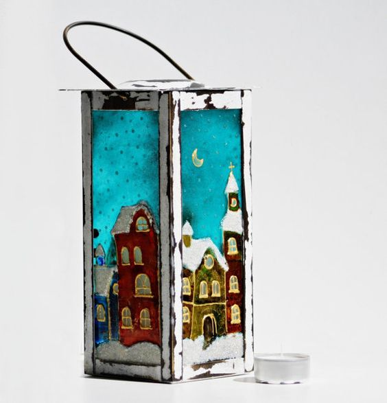 NevenaArtGlass : Lamp Candle Holder Hand Painted Christmas Night | Sumally