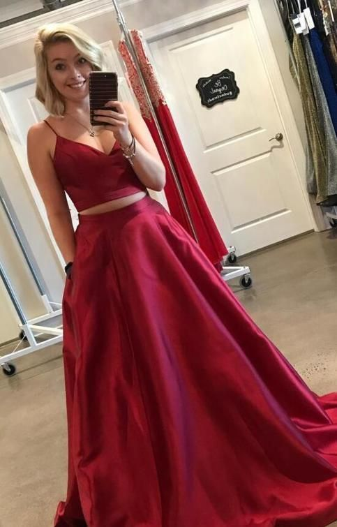 Two Piece Straps Red Long Prom Dress With Pockets Cherry Green Prom Dress Straps Prom Dresses Piece Prom Dress