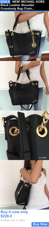 Women Handbags and Purses: New! Michael Kors Black Leather Shoulder Crossbody Bag Chain Tote Purse Handbag BUY IT NOW ONLY: $228.0