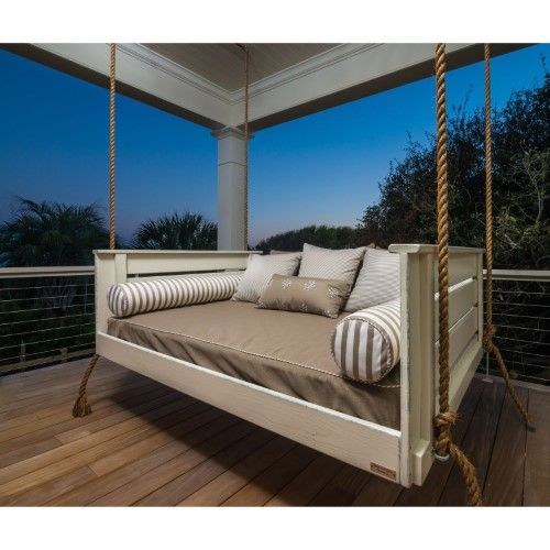 The Vintage Porch Swings Peninsula Joshua Swing Bed Is As Classic As They Come With Wide Slatted Planks On T Porch Swing Bed Vintage Porch Swings Porch Swing