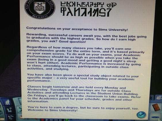 Acceptance letter to Sims 3 University