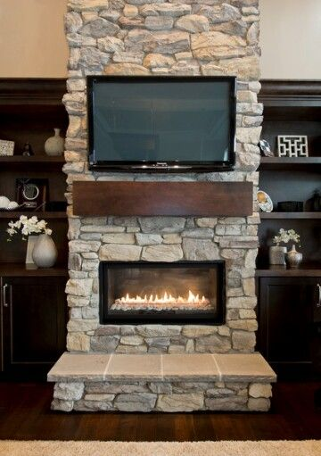 Stone On Fireplace Built In Cabinets Both Sides