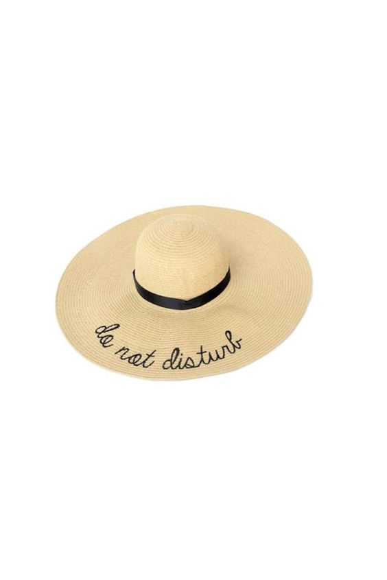 "Neutral straw hat with ""Do not Disturb"" embroidery. One size fits most.   Do Not Disturb Sun Hat by Two's Company. Accessories - Hats Missouri"