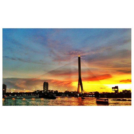 Sunset at Rama VIII Bridge...taken at In Love Restaurant