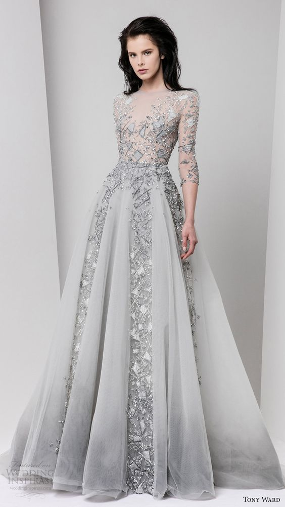 tony ward fall 2016 rtw 3 quarter sleeves illusion bateau neck a line evening dress grey gray embellished: