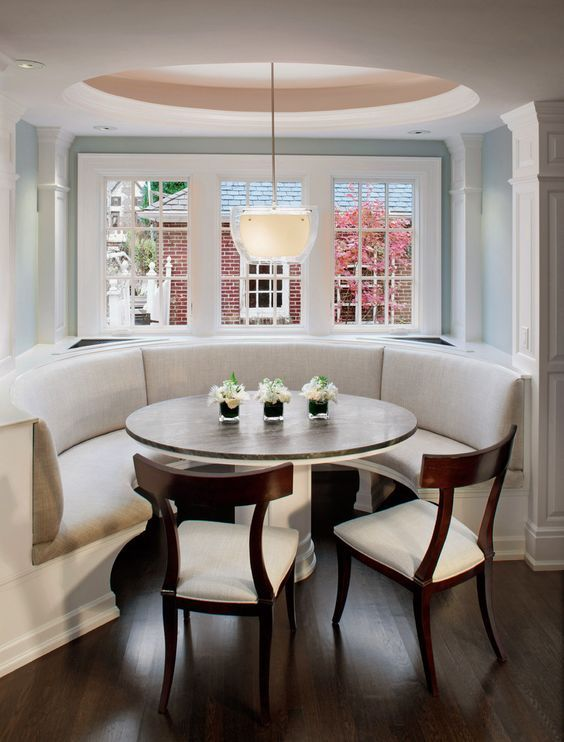 Corner Banquette Seating With White Half Round Sofa White Table Legs With Glass Counter Top Booth Seating In Kitchen Banquette Seating In Kitchen Dining Booth