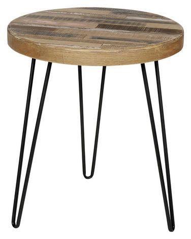 Beistelltisch Kiefer Massiv Rund Naturfarben Schwarz Tisch