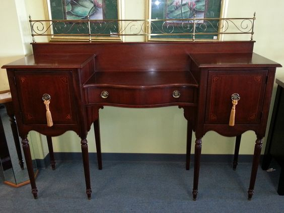 Item # 26382-3 Cherry Stained Buffet w/ 2 Doors, Drawer & Gold Tassels - $395