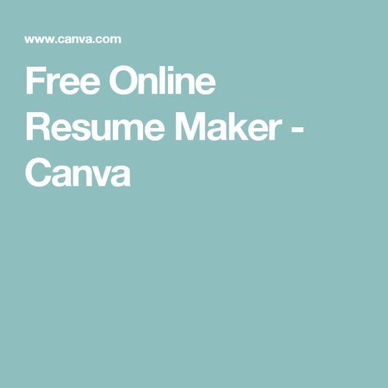 Free Online Resume Maker - Canva Resume Style Pinterest - resumemaker