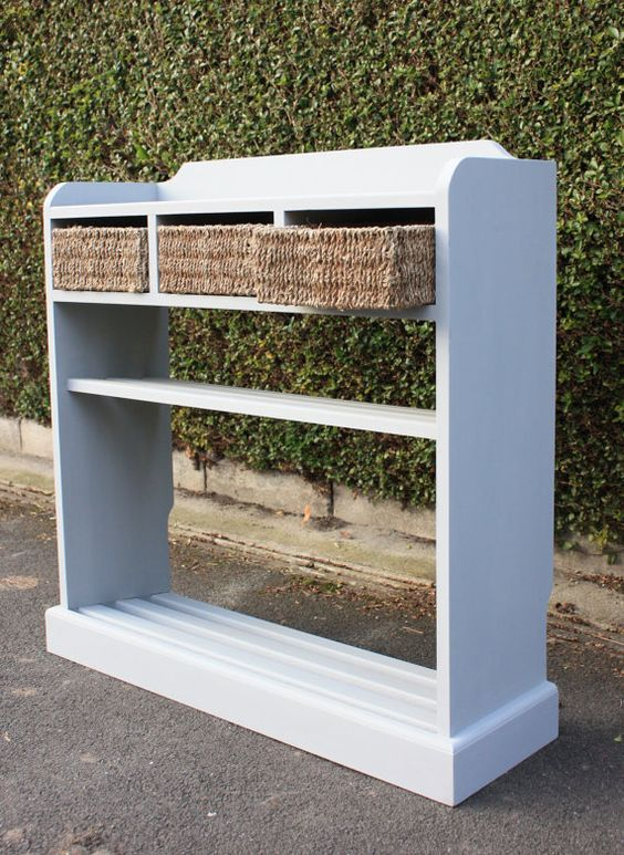 Shoe rack with seagrass basket storage by Blackcatfurniture, £250.00 They are painted in Farrow & Ball paint and finished with beeswax polish