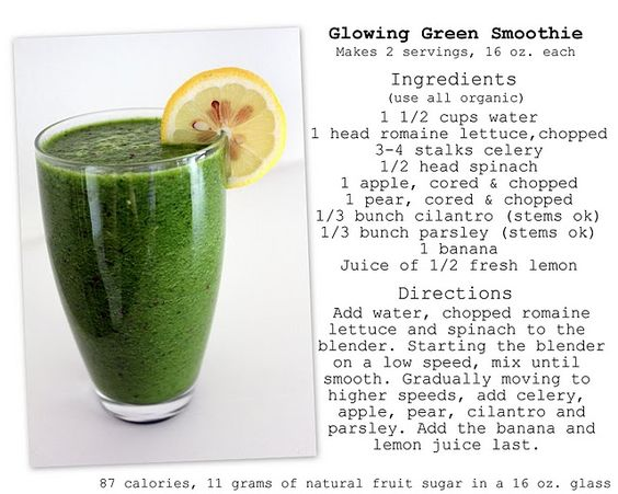 Kimberly Snyder's Glowing Green Smoothie- my breakfast every morning