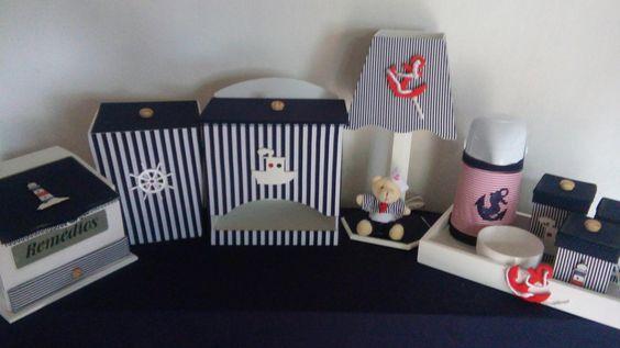 Kit higiene decorado tema marinheiro composto por 10 peças decorado com tecido e aplique em mdf tema a sua escolha temos tambem o porta-maternidade com o mesmo tema .