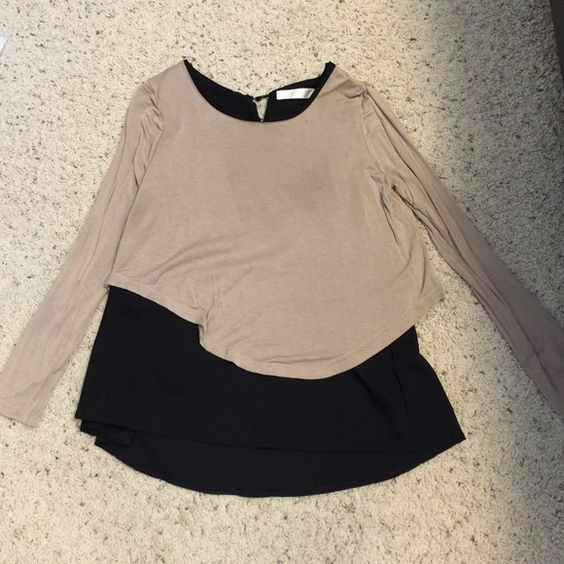 Long sleeve shirt Long sleeve Black and Tan shirt with cute overlay size medium Tops Tees - Long Sleeve