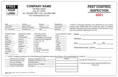 Custom Printed Pest Control Inspection Form Printit4less Com Pest Control Pests Custom Print