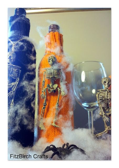 FitzBirch Crafts: Knitted Halloween Wine Cosy pattern - Creepy Cabernet and Menacing Merlot