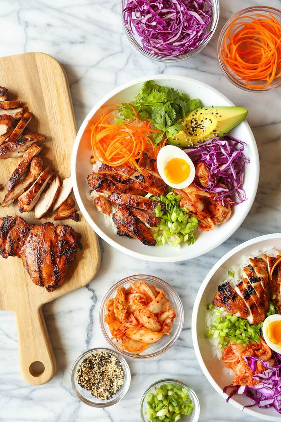 Korean Chicken Bowls - Damn Delicious