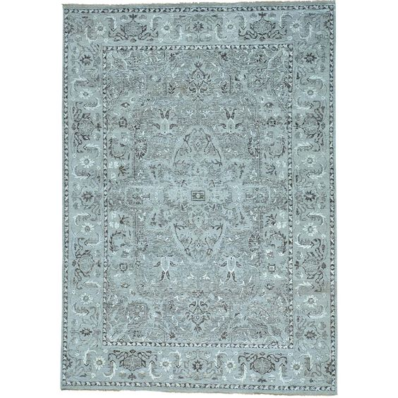 """1800getarug Grey Heriz Design Undyed Natural Wool Hand Knotted Oriental Rug (9' x 12'9) (Exact Size: 9'0"""" x 12'9""""), Size 10' x 12'"""