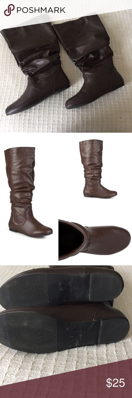 "Brown Wide Calf Boots Journee Collection Jayne style tall boots. Slouchy faux leather material. 16"" shaft height, pull on. Calf is considered extra wide and measures at 18"" (according to website). Worn once. Has a few nicks at the heel and in one toe. Round toe. No heel. Basically a flat tall boot. Journee Collection Shoes"