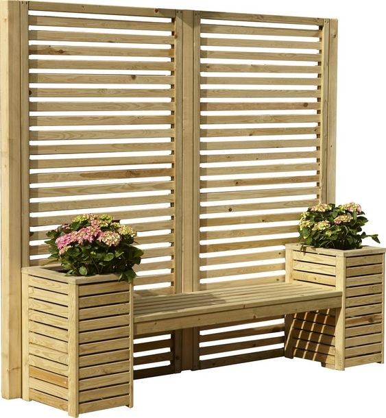 planter, bench, and screen all in one