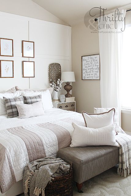 Farmhouse bedroom decor and decorating ideas. White and bright and neutral master bedroom. Fixer upper style bedroom ideas