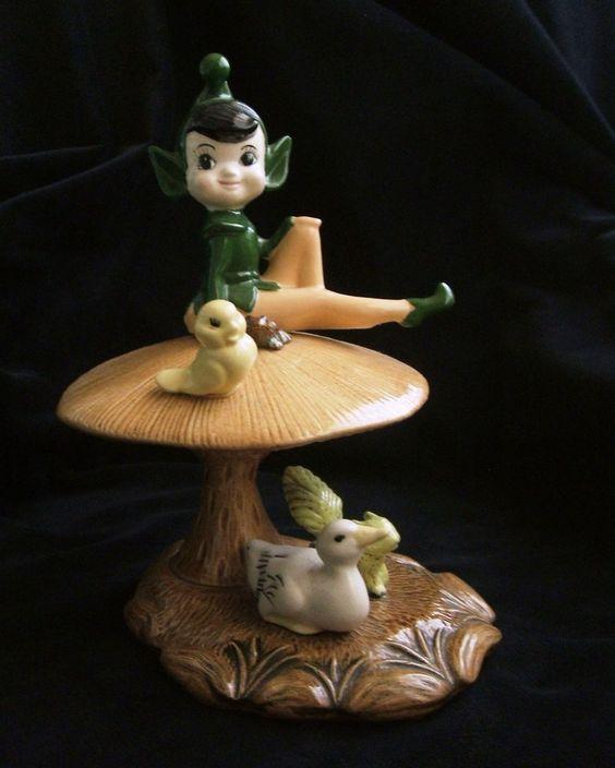 Vintage Large Ceramic Pixie Elf Sitting On A Mushroom