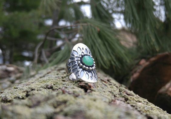 Green Chrysoprase and Sterling Silver Saddle Ring. Layered Handcut Floral Detailing. Botanical Silver Ring. Antiqued Silver. US Size 7 by QuietTimeJewelry on Etsy
