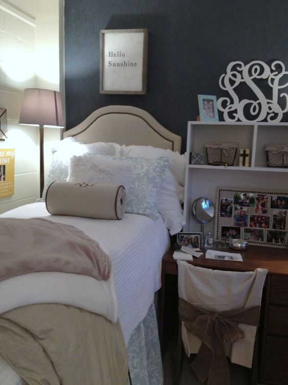 Dorm room  dorm room ideas for girls  Pinterest  Chic  ~ 071733_Chic Dorm Room Ideas