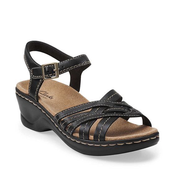 Lexi Elm in Black Leather - Womens Sandals from Clarks