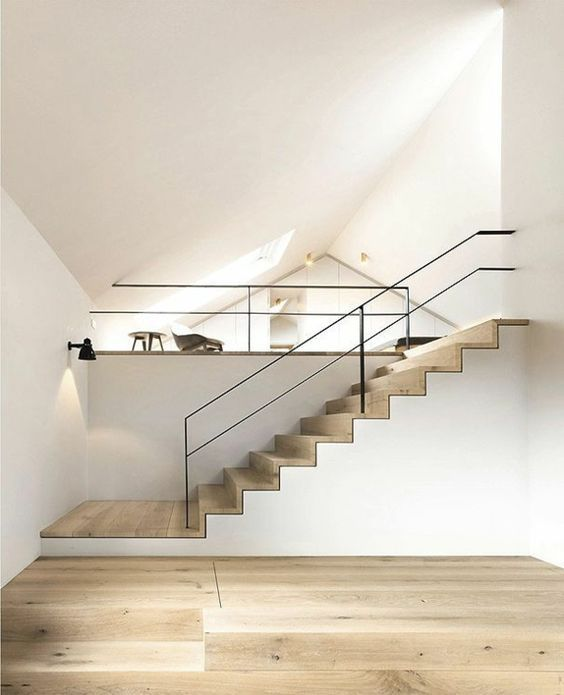 treppengeländer design schlicht hölzerne treppe minimalistisch ...