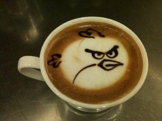 Angry Birds Coffee Art.