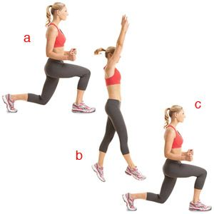 Split Jumps- Stand with your feet in a staggered stance, left foot in front of your right, two or three feet apart. Lower your body into a split squat (a). Quickly jump up and scissor-kick your legs so that you land with your right leg forward (b). As soon as your feet land, lower your body into a split squat (c). That's 1 rep.
