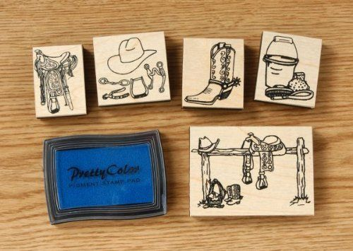 Western Stamp Set by JT. $7.00. Set includes 5 stamps and ink. 1 1/4 x 1 3/4 or 3 x 2 1/4.