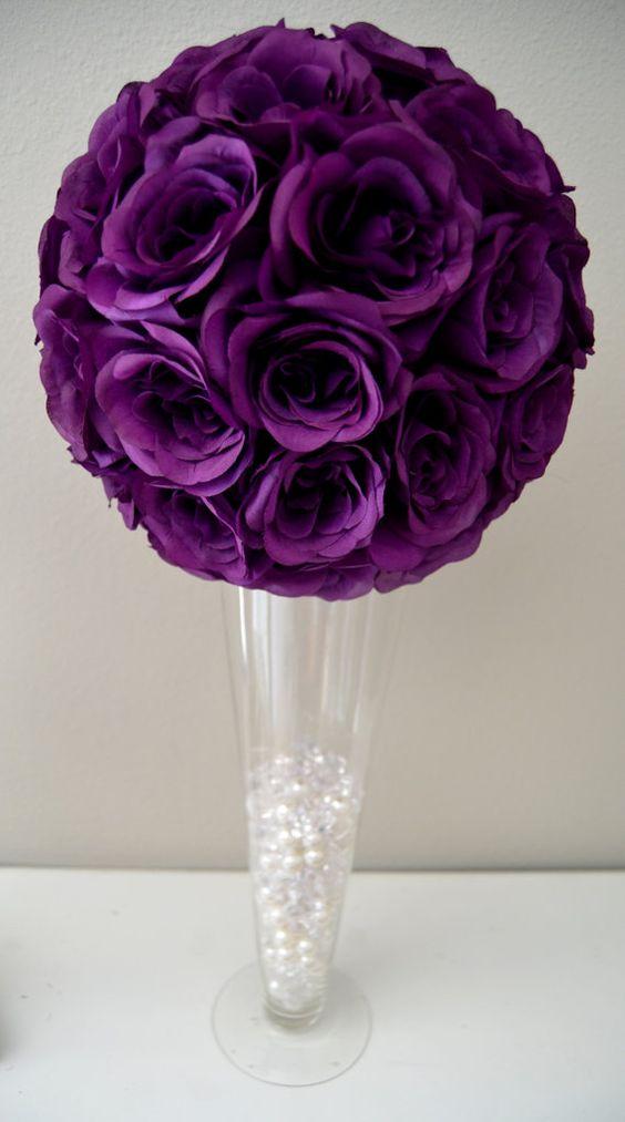 Purple flower ball wedding centerpiece