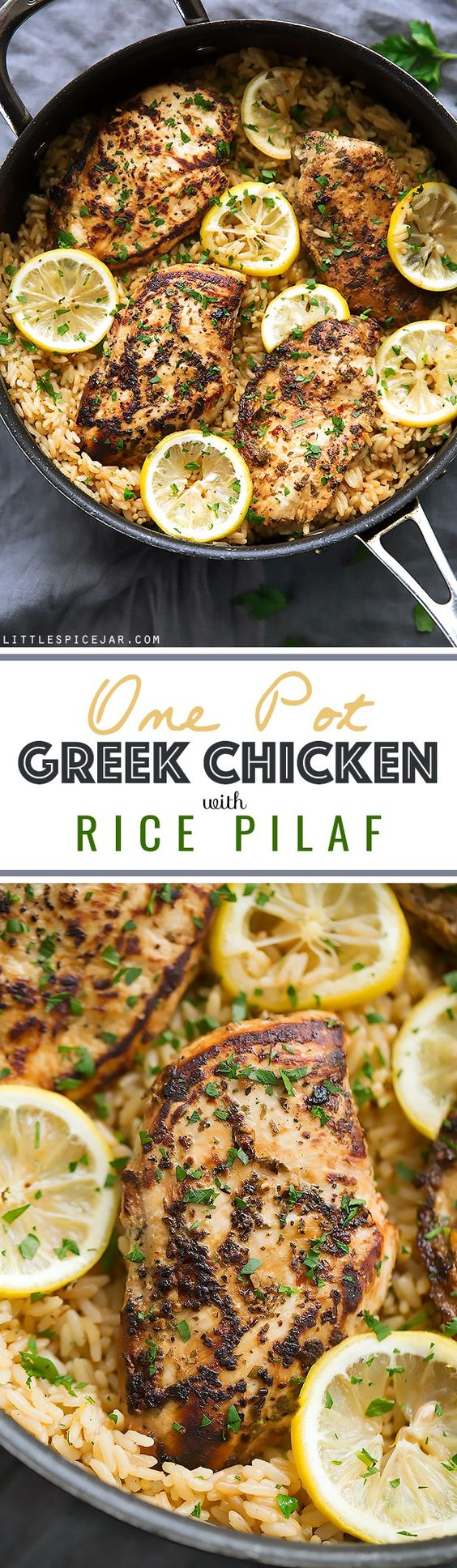 One Pot Greek Chicken and Rice Pilaf - a simple one pot dinner that's ready in 45 minutes and tastes lemon/herby fresh! | Littlespicejar.com