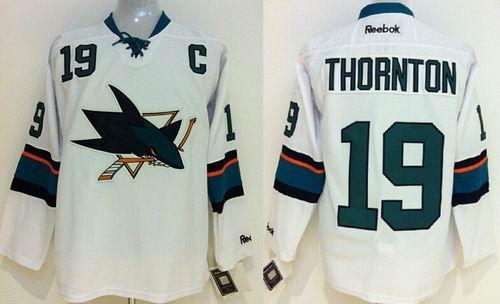 f00857f5020 ... New San Jose Sharks 19 Joe Thornton White Jersey NHL San Jose Sharks  Jersey Pinterest Joe ...
