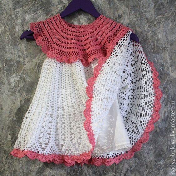 Летнее вязаное платье для девочки (белый, розовый) - белый,платье,летнее платье: